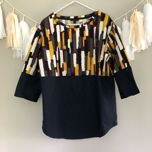 Anthropologie Geometric Print Peplum Blouse